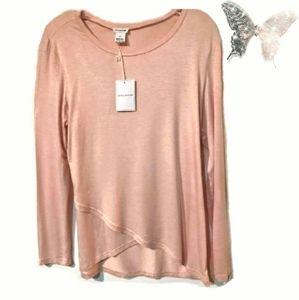 Pret-a-porTEE Peach Cross Front Long Sleeve Top XL
